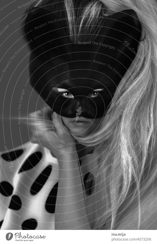 Distorted perception Cat Mask portrait Upper body Carneval masque Looking into the camera Dress up cat mask Gesture Feminine Woman Feasts & Celebrations