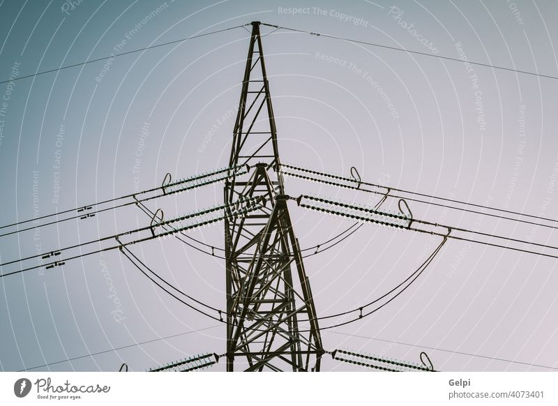 High-voltage tower electricity cable line energy structure industry industrial supply grid wire electrical pylon technology transmission power high sky