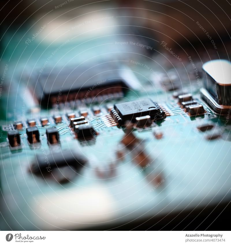 Circuit board in blur. Blurry image of a circuit board. radio equipment technology blurred bokeh chip circuitry close closeup communication component cpu