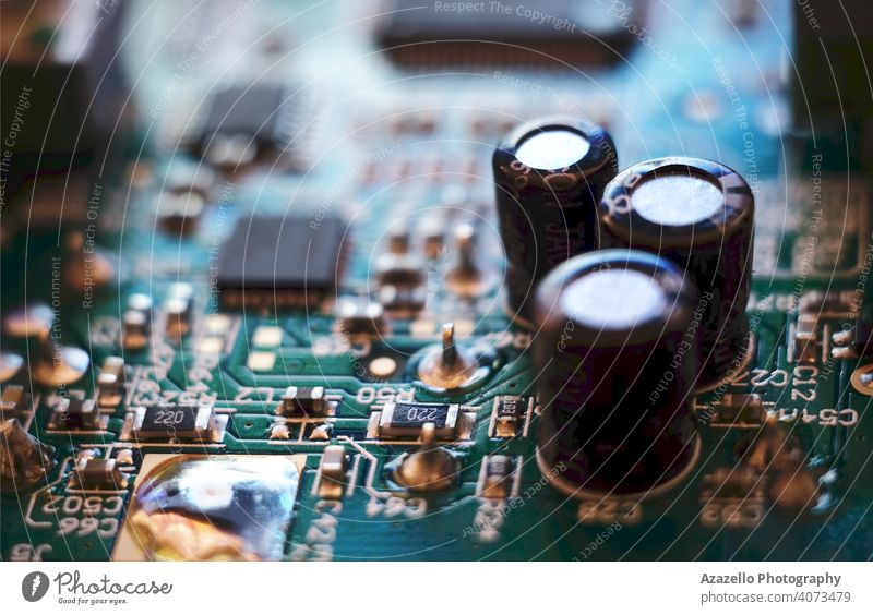 Close up view of a circuit board technology background equipment macro system engineering computer blur blurred bokeh chip circuitry close closeup communication