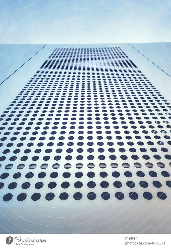 perforated sheet Plate with holes Sky little cloud Metal Deserted Detail Pattern Hollow Abstract Climate