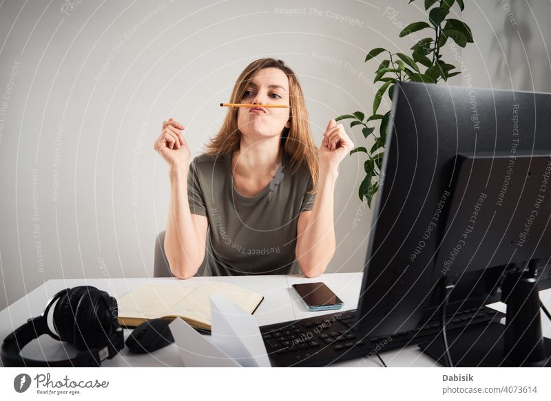 Woman procrastinate at home workplace. Remote work and home office problem freelance online woman lazy business workspace computer organization creative