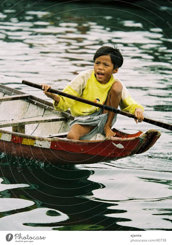 Child Water Joy Eyes Boy (child) Watercraft Asia Vietnam