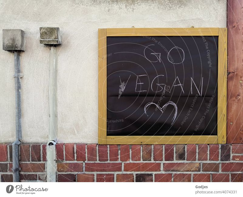 Board on a house wall with the inscription 'go vegan' next to it are cable ducts with distribution boxes Blackboard cable shaft wiring harness Sockets Heart
