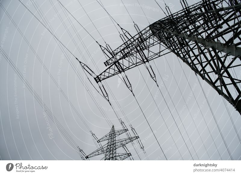 Transport of electrical energy by cables on several masts Cable Clouds Colour photo Transmission lines Technology High voltage power line cantilever