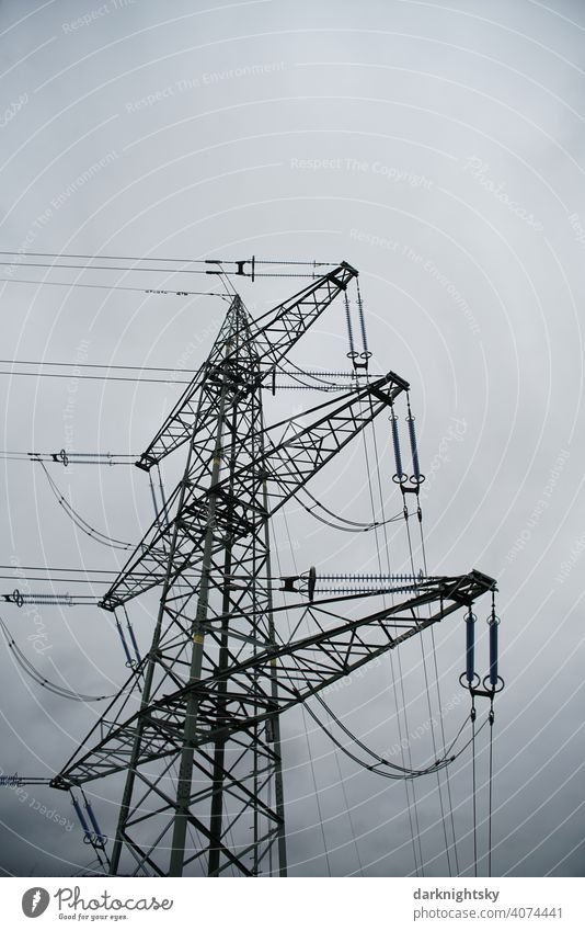Transport of electrical energy by cables on a mast Cable Clouds Colour photo Transmission lines Technology High voltage power line cantilever trussed girders
