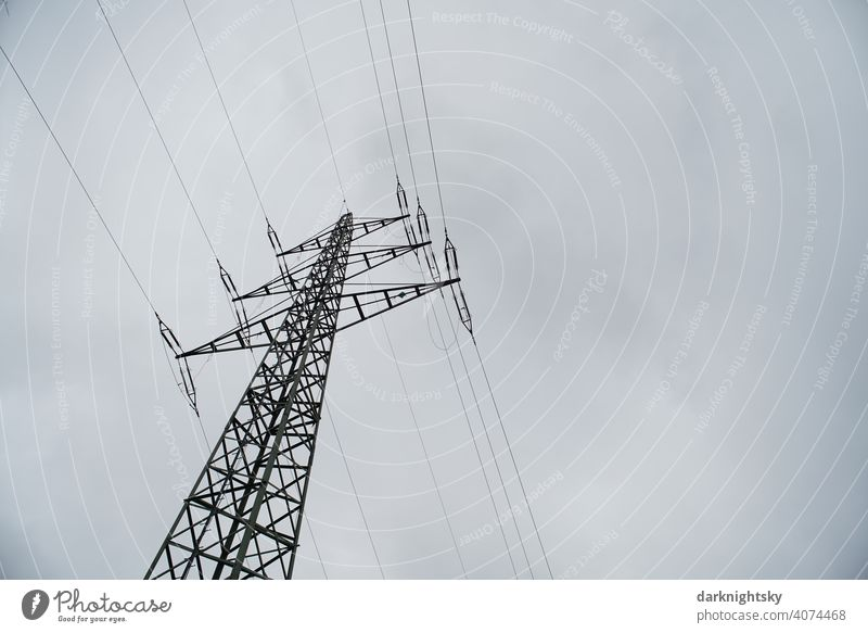 Transport of electrical energy by cables on a mast Cable Clouds Colour photo Transmission lines Technology High voltage power line Cantilever chair
