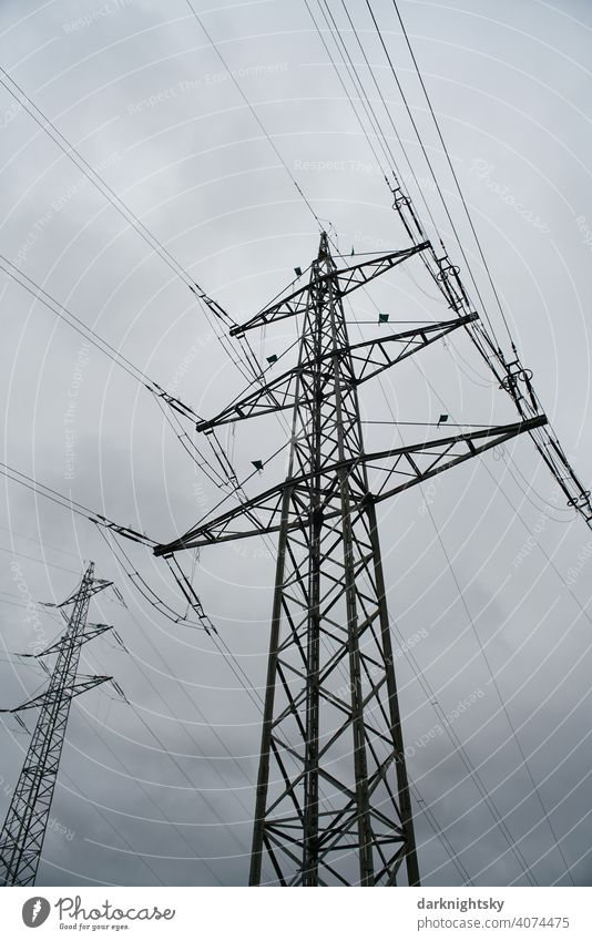 Transport of electrical energy by cables on several high masts Cable Clouds Colour photo Transmission lines Technology High voltage power line cantilever