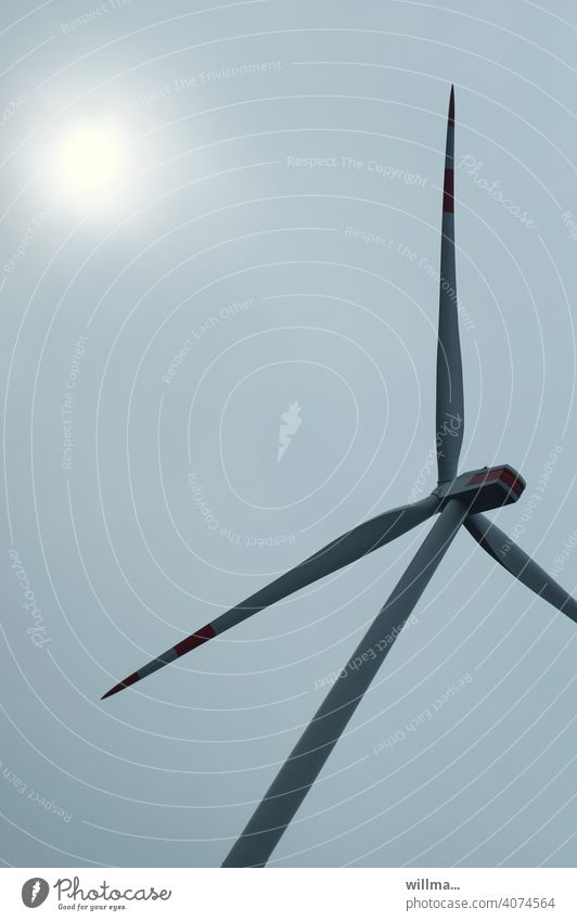 even a sun can get into a sweat ... Pinwheel Wind energy plant turbine Electricity Energy eco-power Sun modern wind turbine Eco-friendly Climate protection