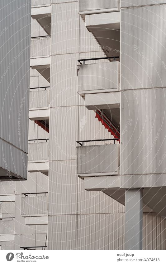 Relatively drab side view of balconies of a slab housing development Architecture dwell Prefab construction tower block Balcony Anonymous Facade Wall (building)