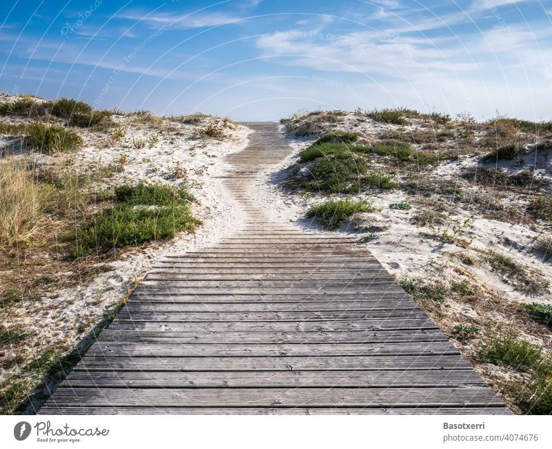 Path over the dunes to the beach. Punta Lariño, Galicia, Spain off trace duene Beach Sand Summer Landscape Nature Vacation & Travel Colour photo Sky Tourism
