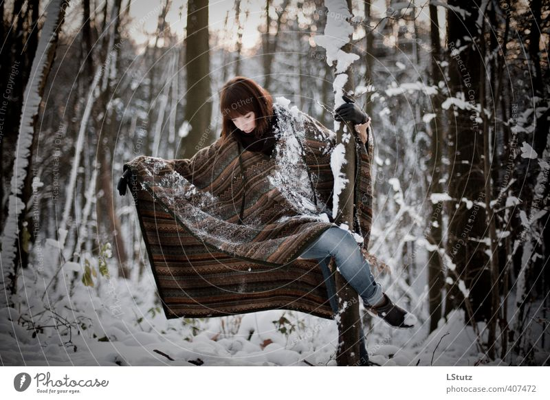 Human being Woman Nature Youth (Young adults) White Young woman Black Winter Forest Adults 18 - 30 years Life Snow Feminine Movement Freedom
