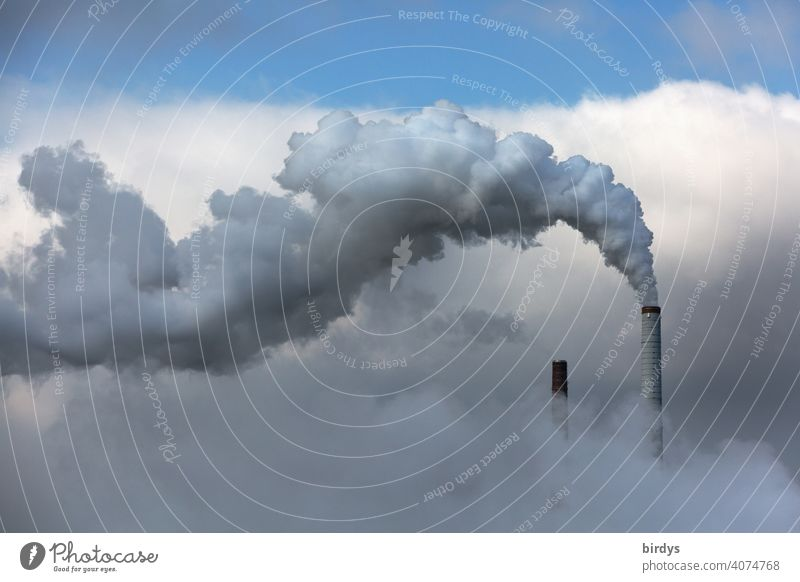 Smoking industrial chimney. Industrial landscape shrouded in exhaust fumes. Air pollution exhaust gases Sky Factory Smoke Exhaust gas climate-damaging