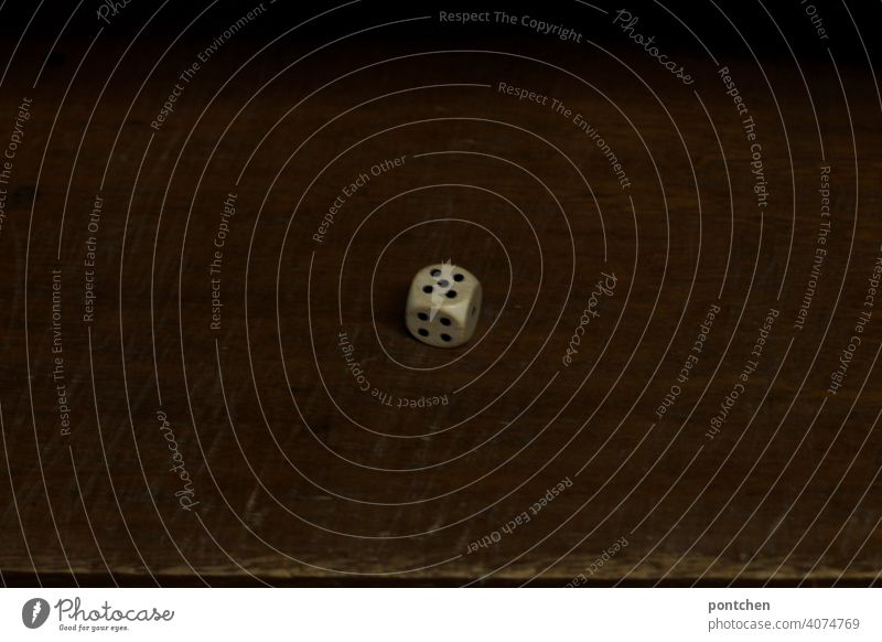 one dice shows 5 dice eyes. social game, dice luck cubes number five cuboid eyes Playing Compulsive gambling Game of chance Crap game Digits and numbers Throw