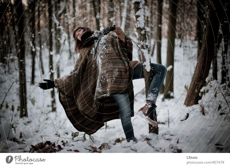 daughter . in the woods / 01 Feminine Young woman Youth (Young adults) Adults Human being 18 - 30 years Dancer Nature Winter Snow Forest Jeans Cape Brunette