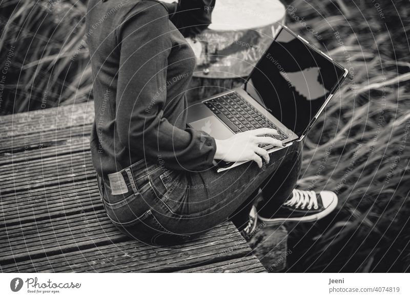 Young woman working outside (regardless of location) on a wooden walkway in the fresh air on a laptop / PC Computer pc labour Workplace Working environment