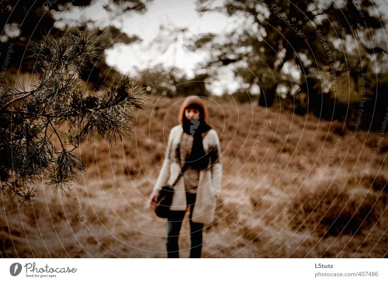 white dove . out of focus Feminine Young woman Youth (Young adults) Woman Adults 1 Human being 18 - 30 years Environment Nature Spring Autumn Drought Heathland