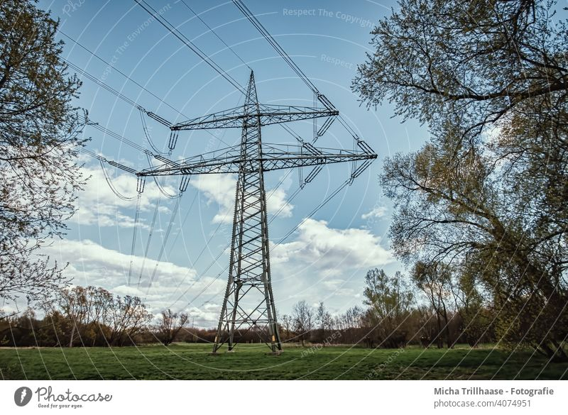 Power pole and power lines in the landscape Electricity pylon High voltage power line Power lines Energy industry Technology Power transmission Cable