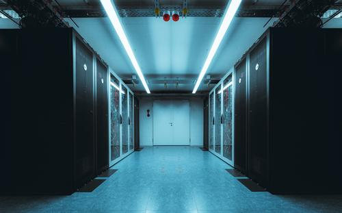 Server room with blue neon light internet information service system technology datacenter rack digital hardware render security database computer network