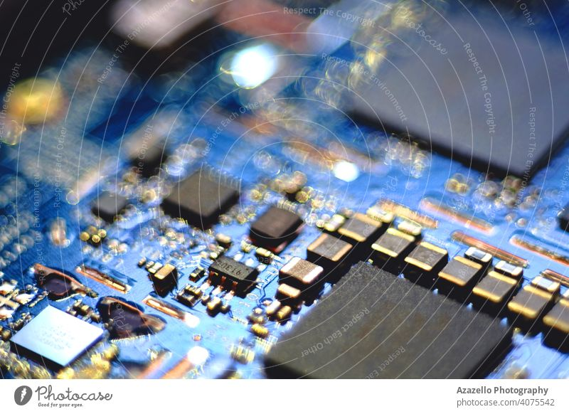 Close up image of a circuit board. background equipment technology blur blurred bokeh chip circuitry close closeup communication component cpu defocused detail