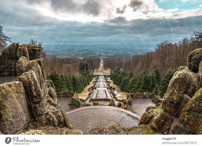 View of Kassel from the Hercules Colour photo Town Deserted Exterior shot Copy Space top Sky Architecture Day Building Manmade structures Beautiful weather