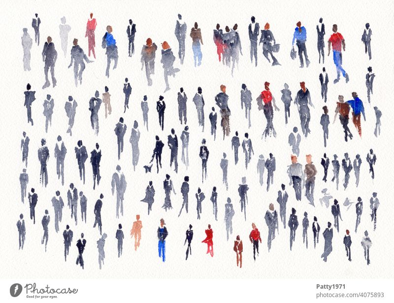 Abstract human silhouettes painted in watercolor Watercolors Silhouette people People group Many Creativity Art Painting (action, artwork) Leisure and hobbies