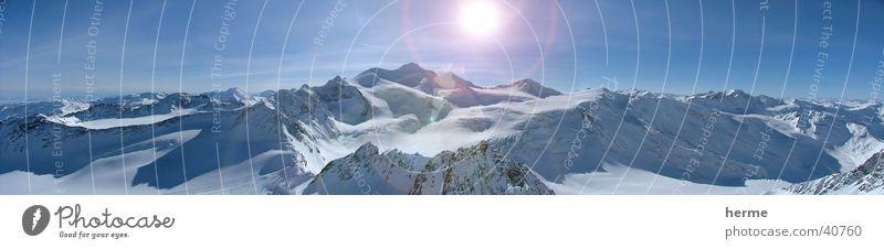 Sky Sun Far-off places Winter Mountain Snow Horizon Ice Illuminate To enjoy Europe Beautiful weather Peak Frost Alps Snowcapped peak