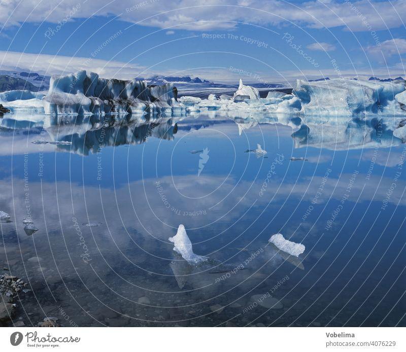 Joekulsarlon, a glacier lagoon on Iceland Water Snow Iceberg glacial lake Jökulsárlon glacial water glacial river Glacier ice Europe Northern Europe icebergs
