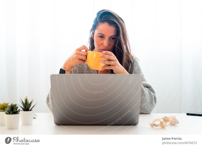 young woman teleworking at home with computer spectacles service one person call communication female businesswoman beautiful european people professional