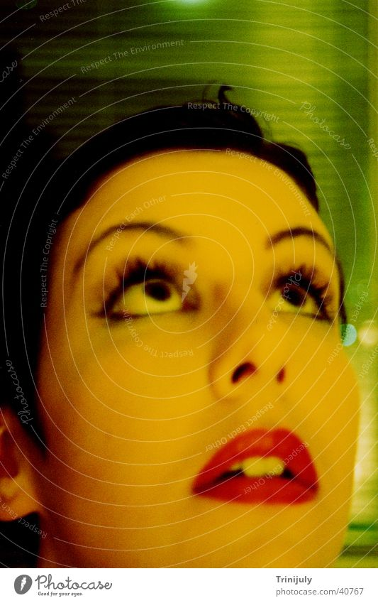 Yellow II Woman Long exposure Portrait photograph Style cross colour Face washed out Eyes Mouth Looking