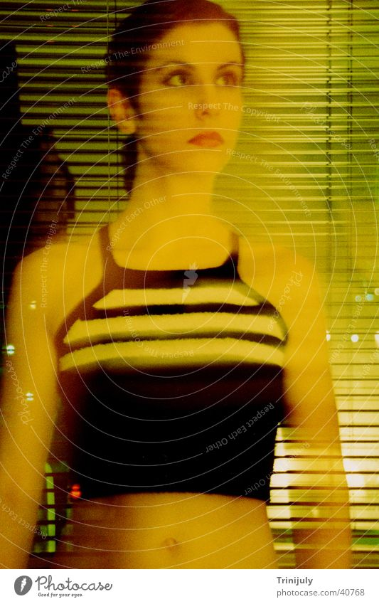 Yellow I Woman Long exposure Portrait photograph Washed out Style cross colour