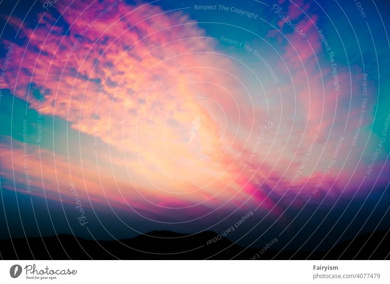 Rainbow colored sunset sky colors Prismatic colors Light Multicoloured Spectral Beam of light Green Sunlight Colour photo Abstract Sky blue Sky only Sunset