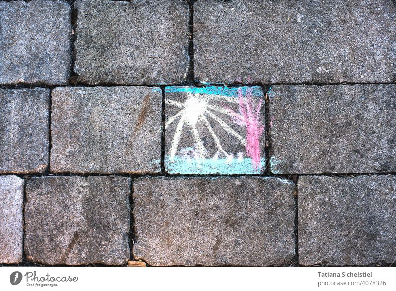 colourful chalk painting on grey paving stones Drawing Chalk variegated cheerful Paving stone Chalk drawing Street painting Painting (action, artwork)