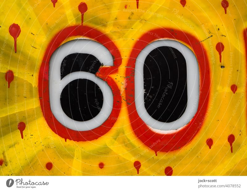 60 colourfully designed Digits and numbers Metal Signs and labeling Typography Decoration Graffiti Low-cut Detail Bordered points Yellow Red Spray House number