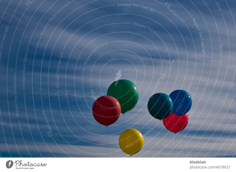 """6 balloons in the colours red - green - dark green - blue - yellow - orange float into the blue-white sky - the red one carries the inscription """"LOVE"""". Balloon"""