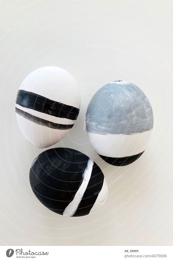 Easter Style Decoration Black White Gray stylish streaky Striped Easter eggs Modern Spring Tradition Feasts & Celebrations Egg Design Studio shot Colour photo