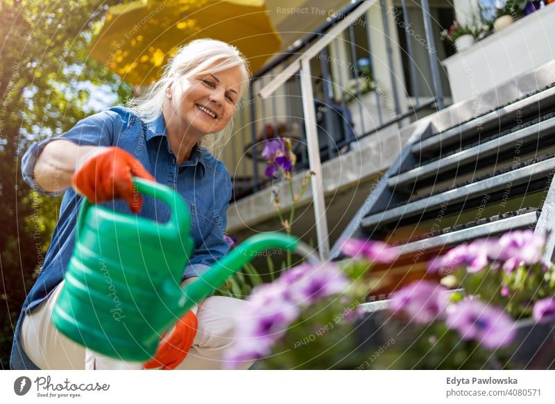 Senior woman watering plants in her garden smiling happy enjoying positivity vitality confidence people senior mature casual female Caucasian elderly home house