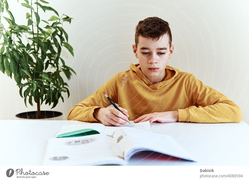 Teenage boy write homework at home. Education concept school writing studying education book person student people childhood caucasian desk young learning