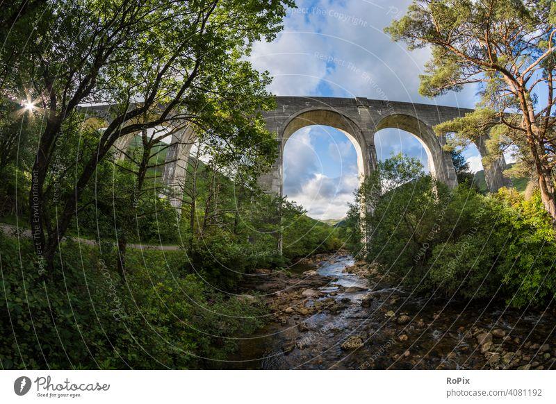 Railway bridge in the western highlands. Scotland scotland railway Glenfinnan viaduct Highlands Nature Bridge Valley River England Hollow Shiel river