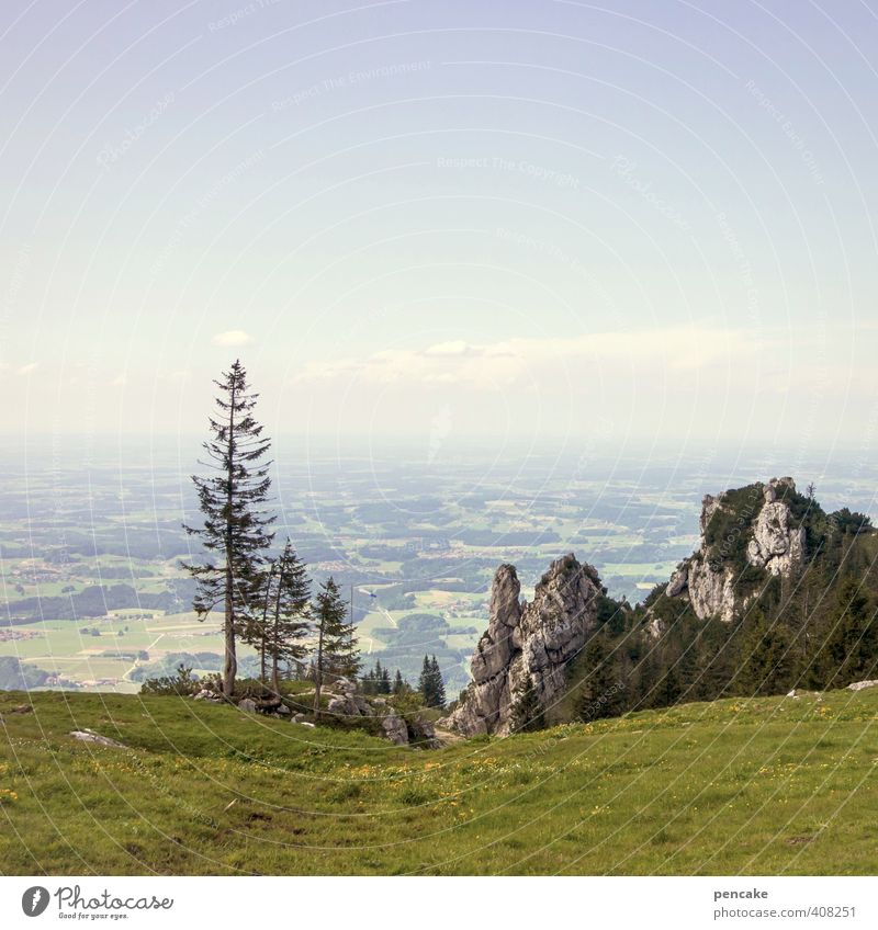 AST6 Inntal | distant view Nature Landscape Sky Summer Beautiful weather Forest Alps Mountain camping wall Far-off places Lake Chiemsee Spruce Rock