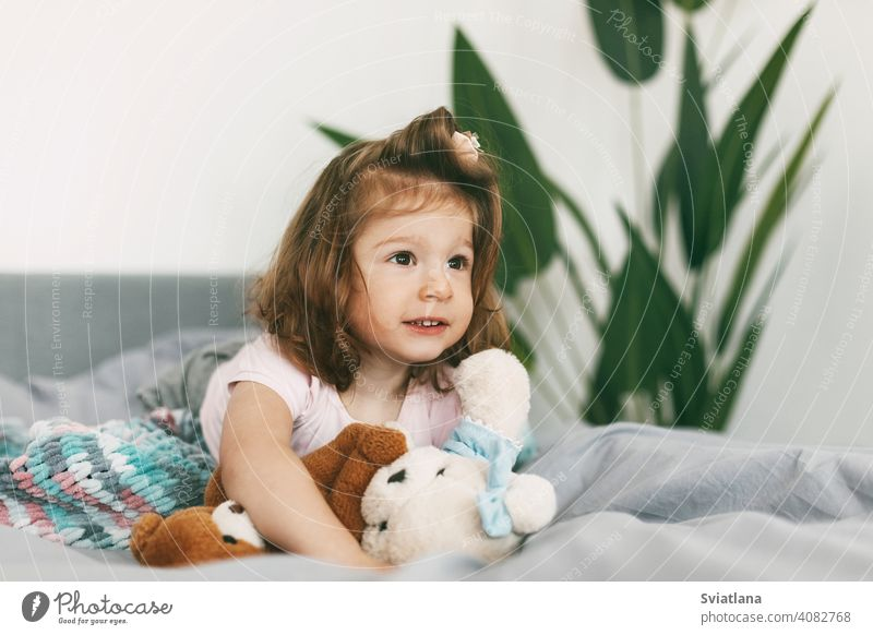 Portrait of a charming little girl lying on a bed with her teddy bear happy blanket cute morning pyjamas under laughs bedroom childhood pillow bedtime home