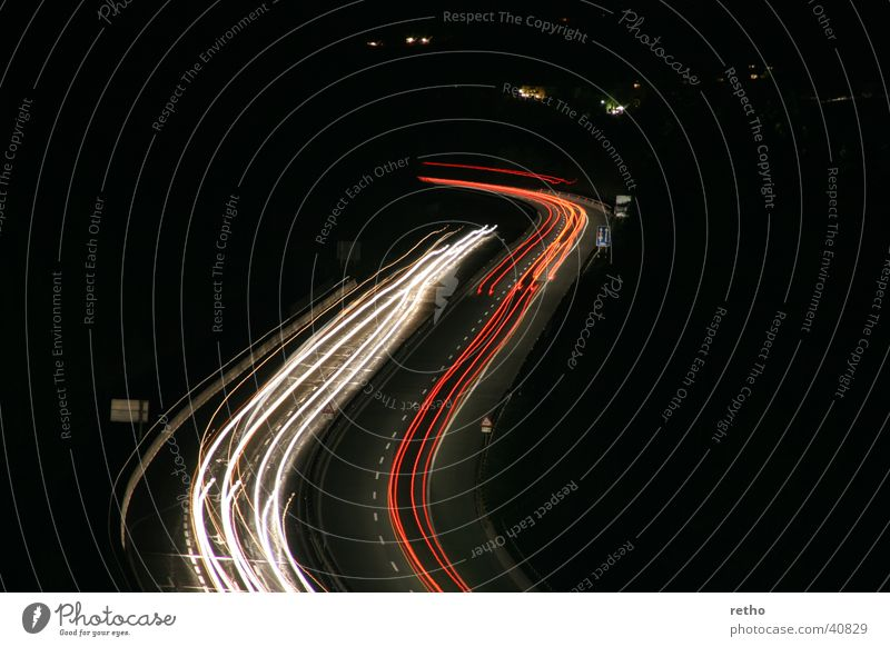 light traces Highway Tracer path Long exposure White Red Rear light Floodlight S-curve