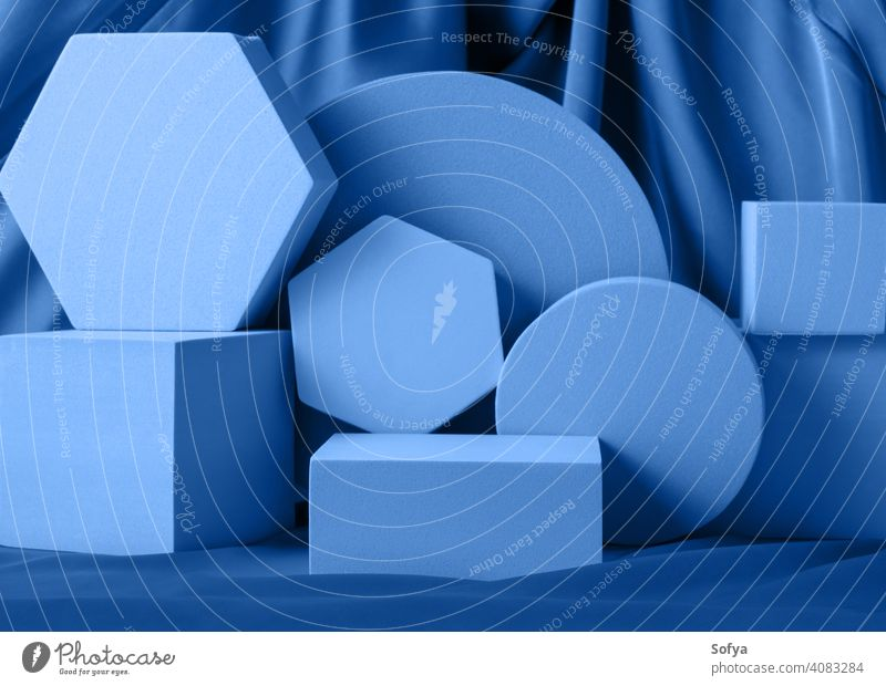 Geometric shapes night blue stand podium mockup for product display on silk background geometric neon design color layout pedestal empty beauty abstract
