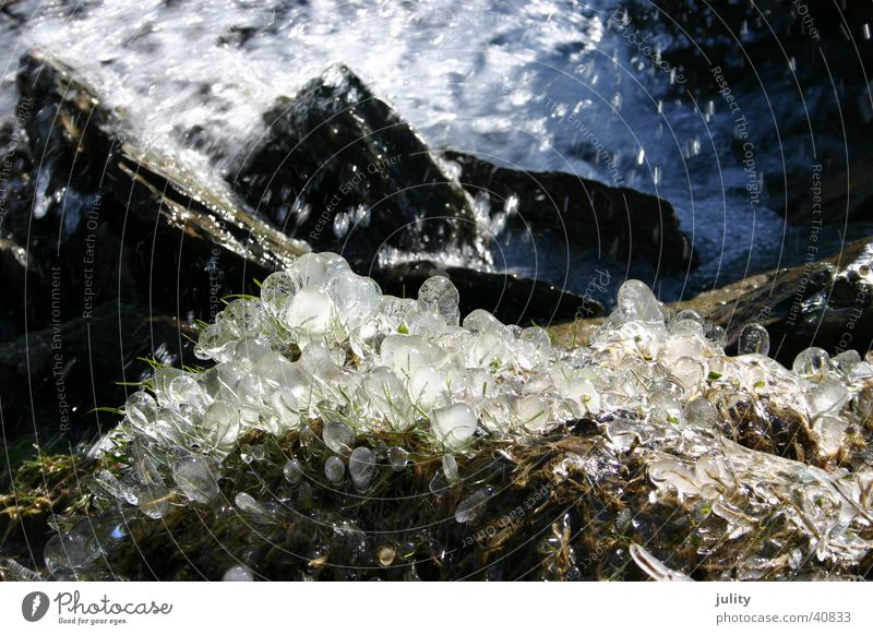 ice & water Brook Freeze Green Spring Wet Ice Water Blue Cold Stone Coast Grass Morning Drops of water Sphere