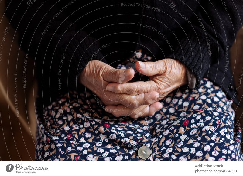 Detail of hands of an elderly woman person female adult old human finger senior osteoarthritis people caucasian detail health lifestyle care holding couple aged