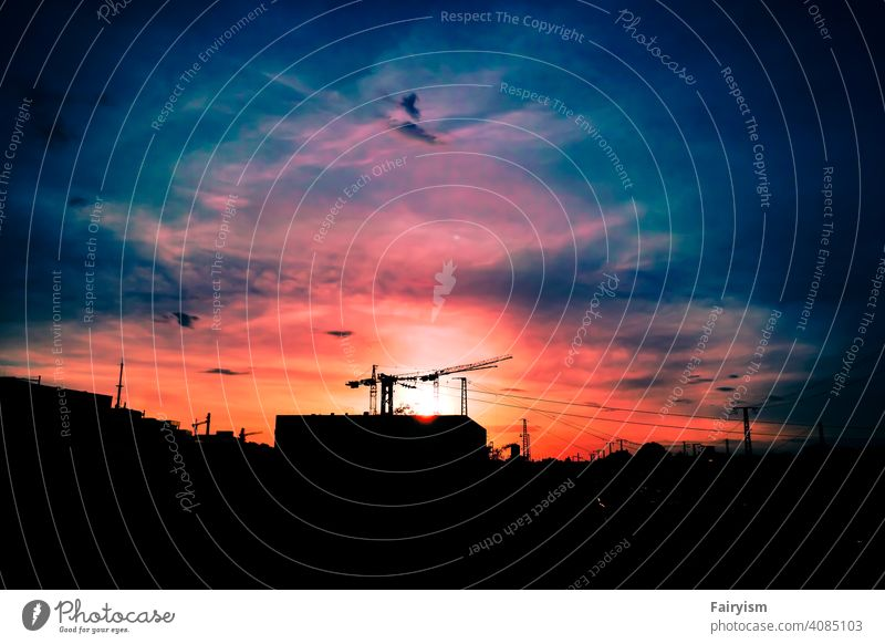 colorful urban city summer sunset Clouds Sky Sky blue Sky only mood maker Nature moody atmosphere moody weather cloudscape Cloud cover Clouds in the sky