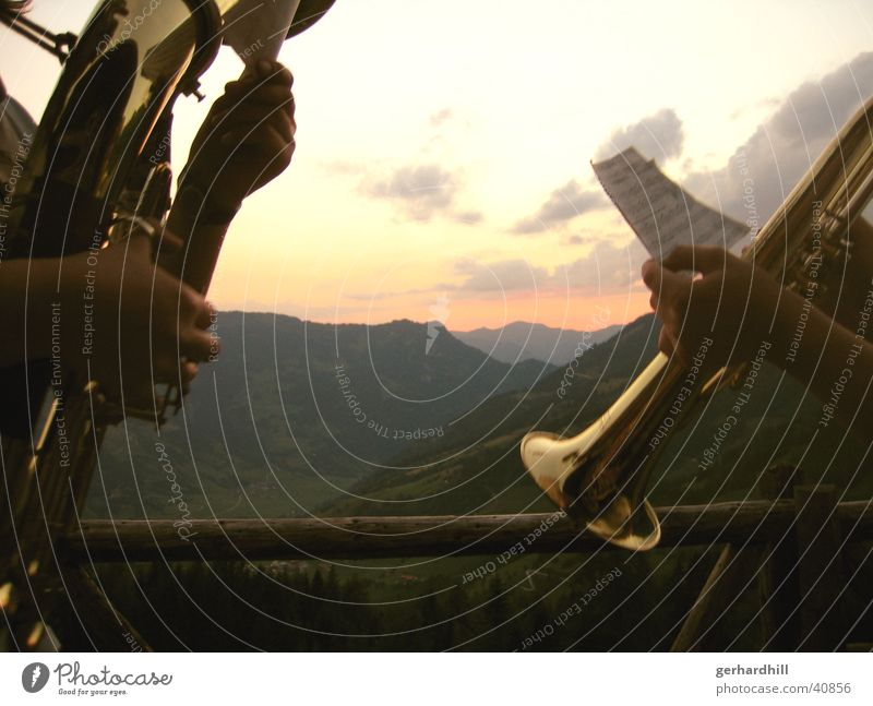Mountain Music Europe Romance Alps Wind instrument Dusk Trumpet
