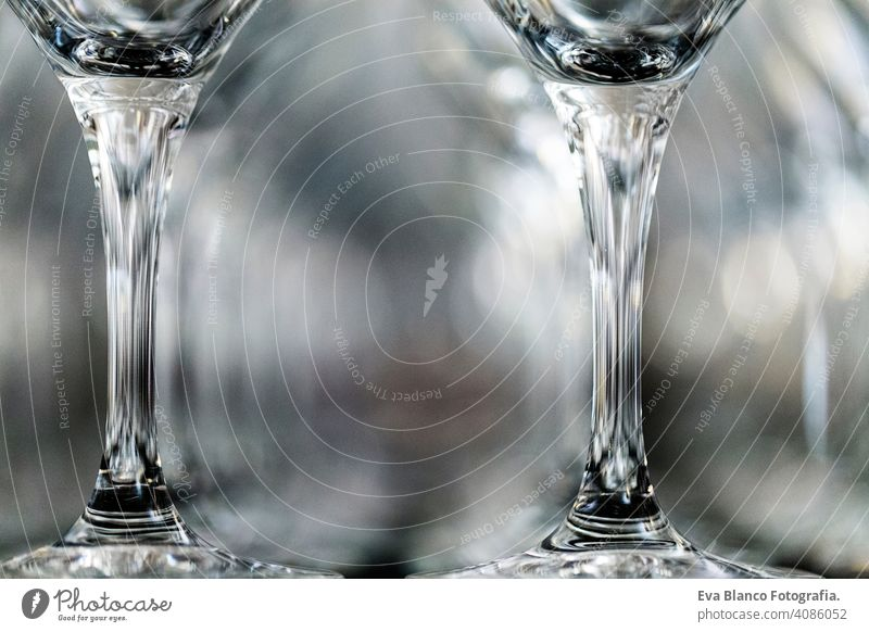 Wine Glass at the exhibition on the table. wedding decor repetition restaurant glass toast celebration alcohol empty drink wineglass row pattern people nobody