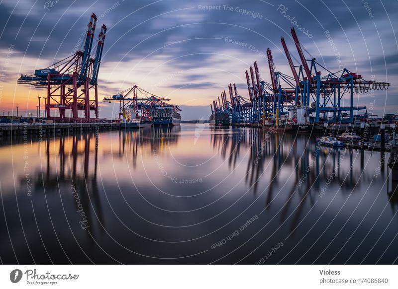 Night in Hamburg - Burchardkai II reflection Clouds Erase Unload Navigation Dark loading Container ship crane Long exposure clearer burchardkai terminal Harbour