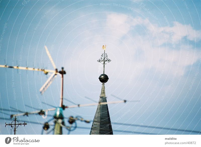 steeple top Antenna Religion and faith Church spire Clouds House of worship Sky